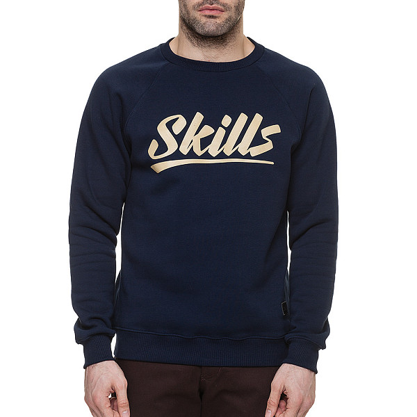 Толстовка SKILLS Script Logo 4 Crewneck (Navy, XS) michael kors new navy blue women s size xs studded hi low crewneck sweater $130