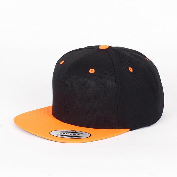 Бейсболка YUPOONG Classic Snapback 2-Tone (Black-Neon-Orange, O/S)