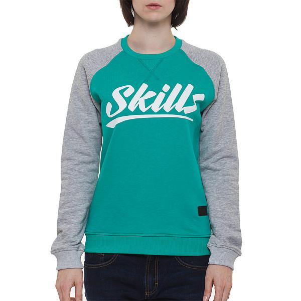 Толстовка SKILLS W Script Logo 4 Crewneck (Emerald/Grey Melange, L) футболка skills 3d raglan grey melange xs