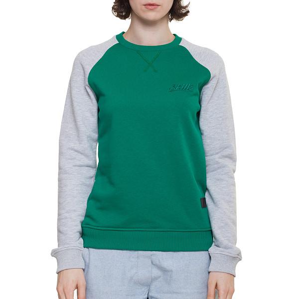 Толстовка SKILLS W Script Logo 4V Crewneck (Green/Grey Melange, XS) футболка skills 3d raglan grey melange xs
