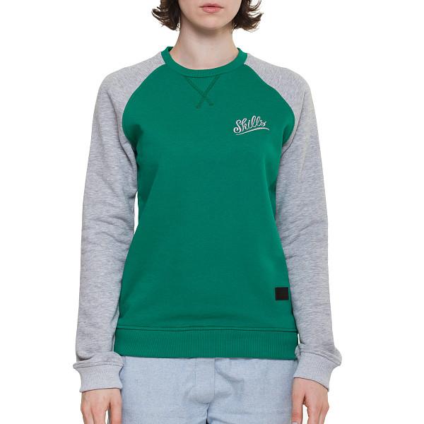 Толстовка SKILLS W Script Logo 3V Crewneck (Green/Grey Melange, L) футболка skills 3d raglan grey melange xs