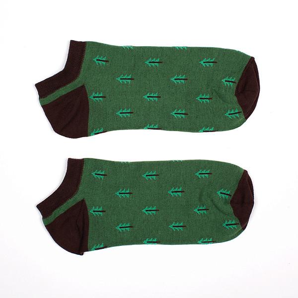 Носки ЗАПОРОЖЕЦ Ёлки короткие женские (Зеленый, O/S)  носки средние женские запорожец огурцы белый зеленый