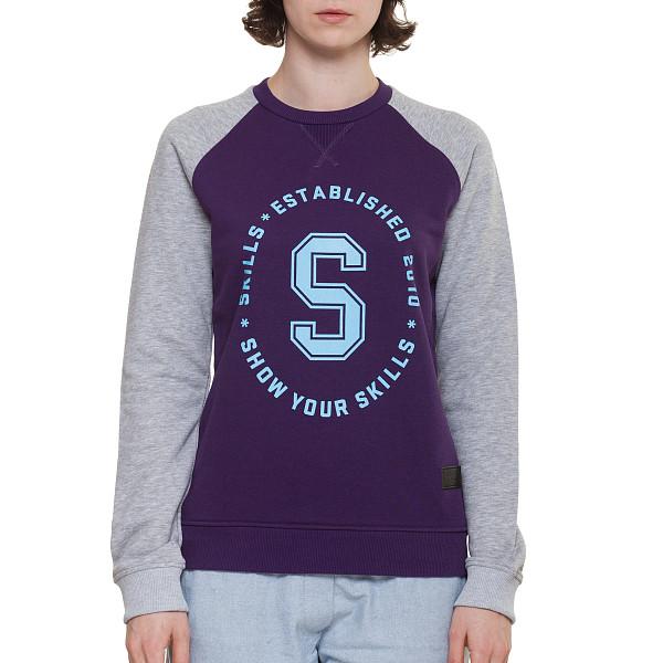 Толстовка SKILLS W Just S Crewneck (Violet/Grey Melange, XS) футболка skills 3d raglan grey melange xs