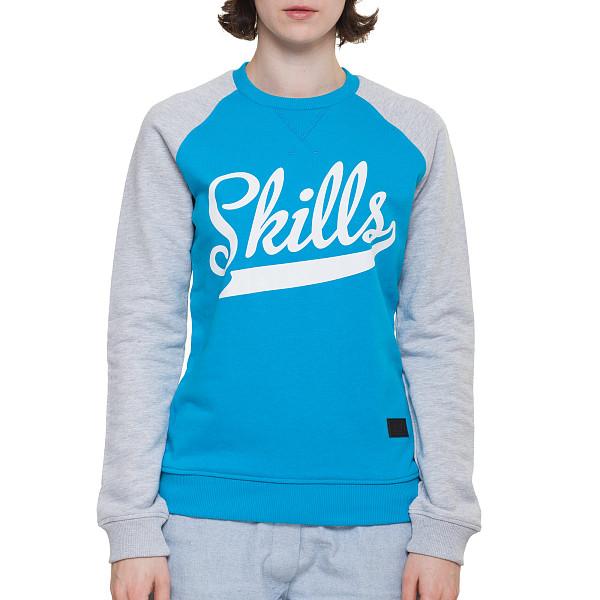 Толстовка SKILLS W Script Logo 2 Crewneck (Turquoise/Grey Melange, XS) футболка skills 3d raglan grey melange xs