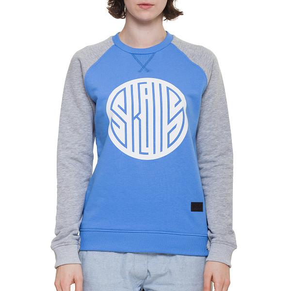 Толстовка SKILLS W Round Up Crewneck (Blue/Grey Melange, XS) футболка skills 3d raglan grey melange xs