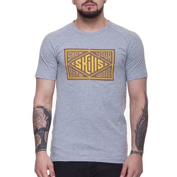 Футболка SKILLS Quad col (Grey Melange, XL) футболка skills 3d raglan grey melange xs