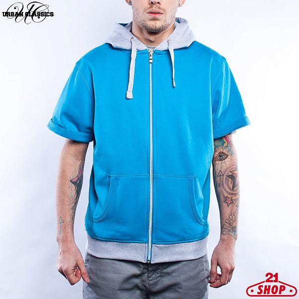 Толстовка URBAN CLASSICS Light Fleece Shortsleeve Zip Hoody (Turquoise-Ltgrey, 2XL)  худи reebok classics f fleece hoody oth