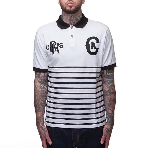 Поло CROOKS & CASTLES Knit Polo Top (White/Black, S) bar iii new black beige chevron striped women s size large l knit top $39