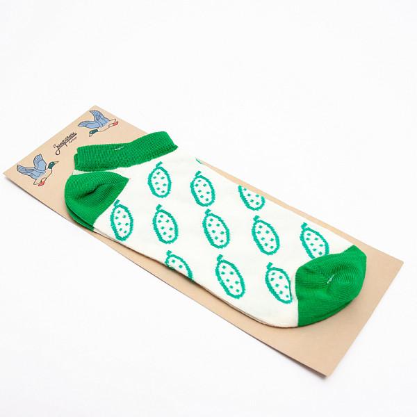 Носки ЗАПОРОЖЕЦ Огурцы короткие (Белый/Зеленый, O/S)  носки запорожец носки огурцы
