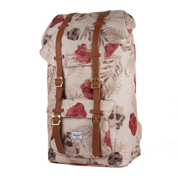 Рюкзак HERSCHEL Little America (Pelican Floria/Tan Synthetic Leather) рюкзак herschel settlement pelican floria