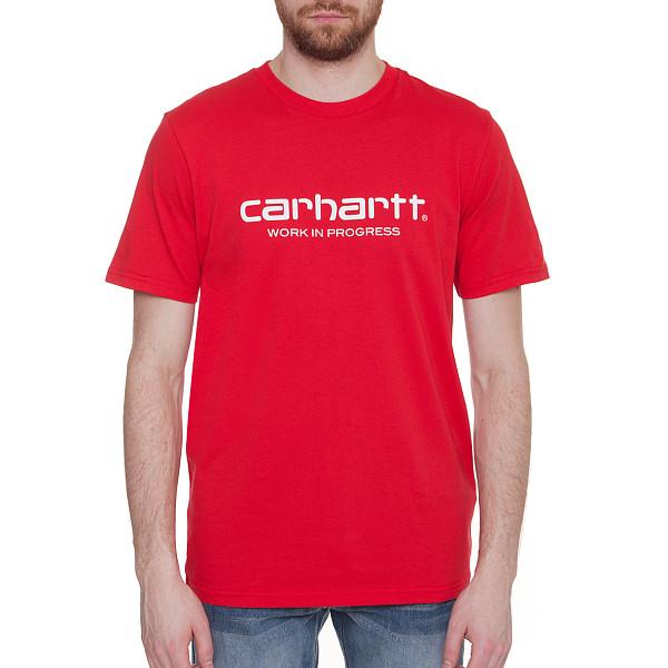 Футболка CARHARTT S/S Wip Script T-Shirt (Chili/White, 2XL) мужская футболка t shirt tmt t s 2xl 160030