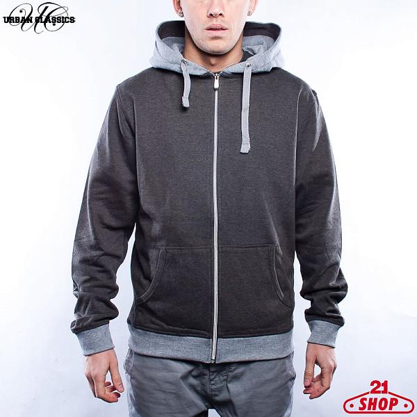 Толстовка URBAN CLASSICS Light Fleece Zip Hoody (Charcoal-Grey, 2XL)  худи reebok classics f fleece hoody oth
