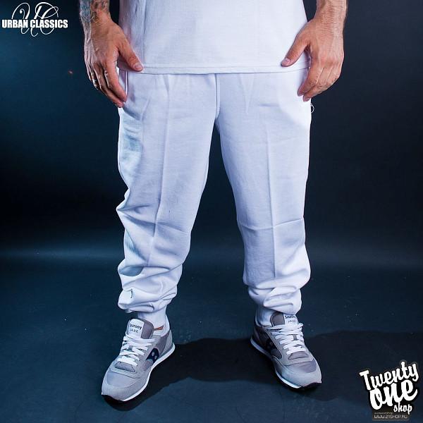 Брюки URBAN CLASSICS Straight Fit Sweatpants (White, XS)  брюки urban classics spray dye sweatpants sky blue s