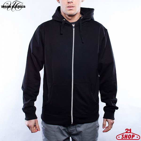 Толстовка URBAN CLASSICS Light Fleece Zip Hoody (Black-Black, S)  худи reebok classics f fleece hoody oth