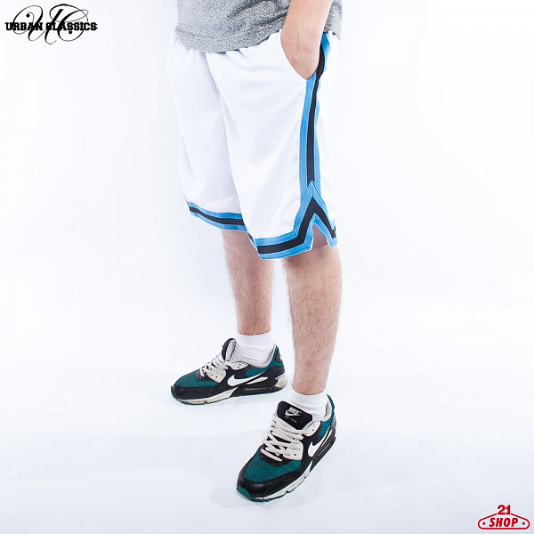 Шорты URBAN CLASSICS Stripes Mesh Shorts (White-Turquoise-Black, XL)