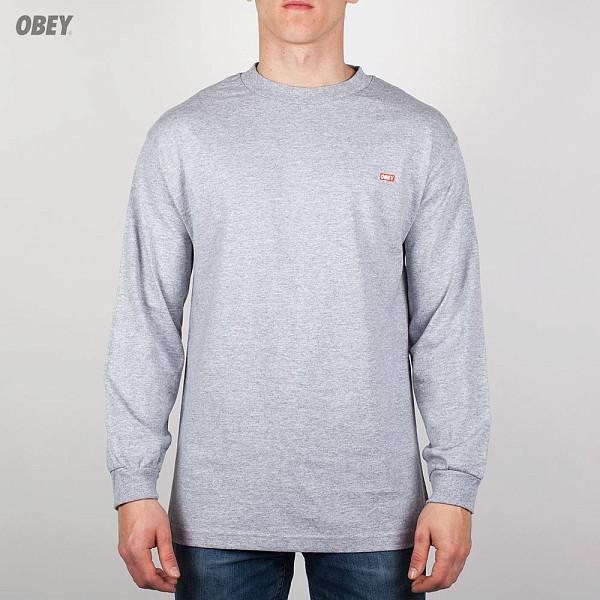 Лонгслив OBEY Bar Logo (Heather Grey, S) reigning champ gym logo ss tee heather grey