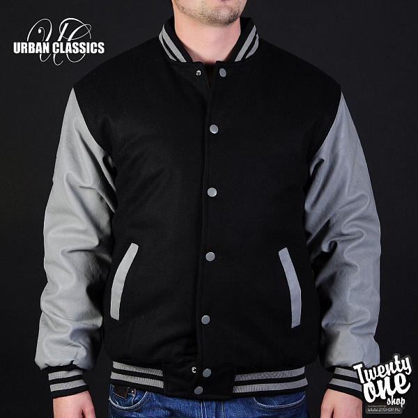 Куртка URBAN CLASSICS Half-Leather College Jacket (Black-Grey, 3XL) havaianas urban jeans grey black