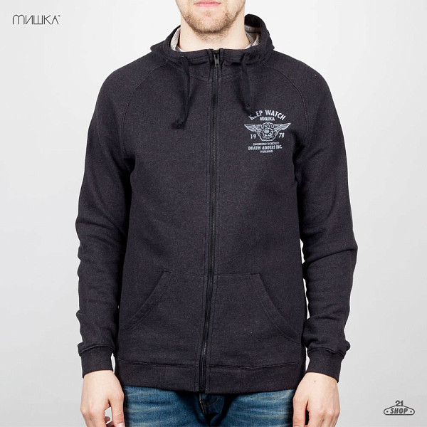 Толстовка MISHKA Easy Rider Zip-Up Hoodie (Heather-Black, L)