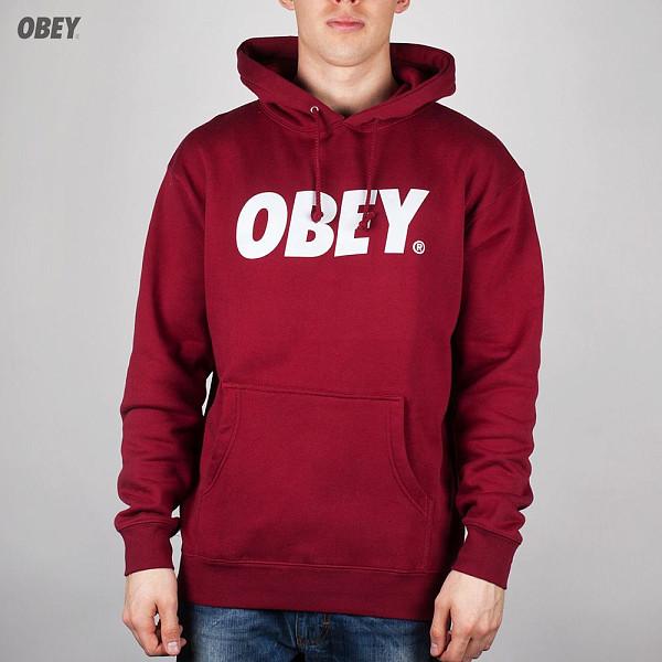 Толстовка OBEY Font Hoodie (Cardinal, L)
