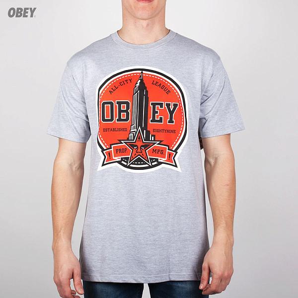 Футболка OBEY All-City League (Heather-Grey, L) футболка obey all city league heather grey l