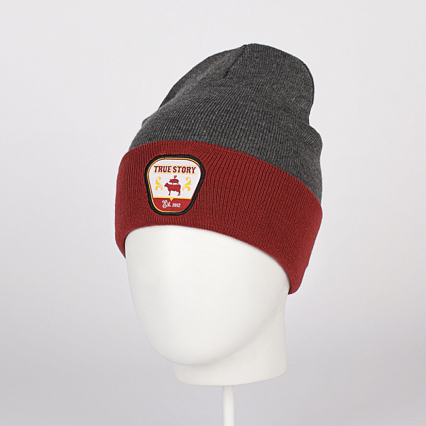Шапка TRUESPIN True Story Classic Beanie (Grey/Bordeaux)