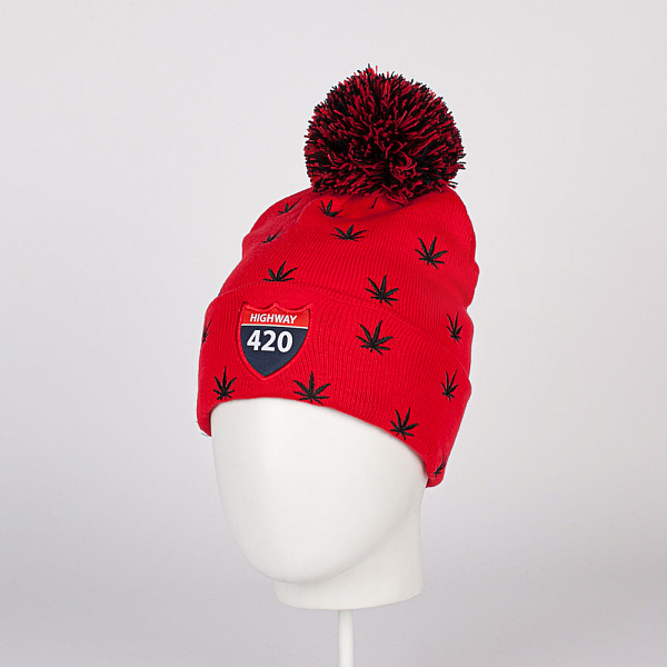 burton шапка с помпоном talini beanie true black Шапка TRUESPIN Weedy Pom Beanie (Red/Black)