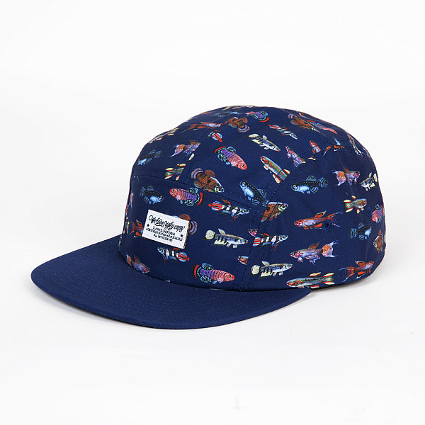 Бейсболка DJINNS 5P Flat Cap Fishes (Navy, O/S) бейсболка с прямым козырьком circa rtd snap back navy caramel