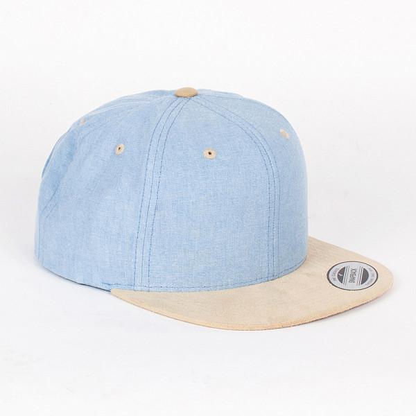 Бейсболка YUPOONG Chambray-Suede Snapback (Blue-Beige, O/S) бейсболка truespin flower beige suede o s