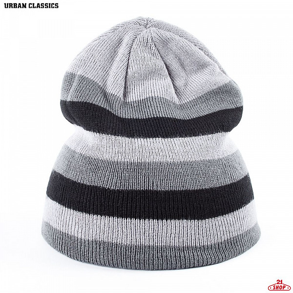 Шапка URBAN CLASSICS 3 Stripe Beanie (Grey-Elephant-Black) havaianas urban jeans grey black