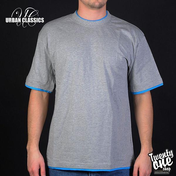 Футболка URBAN CLASSICS Contrast Tall Tee (Grey/Turquoise, 3XL)