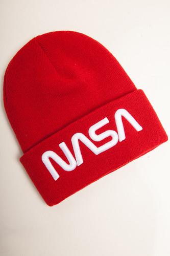 Шапка MISTER TEE NASA Worm Logo Beanie (Red)