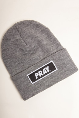 Шапка MISTER TEE Pray Beanie Heather Grey фото