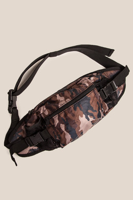 Сумка URBAN CLASSICS Nylon Hip Bag Black/Brown Camo фото
