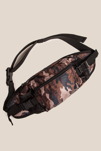 Сумка URBAN CLASSICS Nylon Hip Bag (Black/Brown Camo) цена и фото