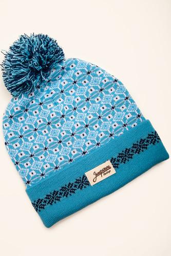 Шапка с помпоном ЗАПОРОЖЕЦ Узор-1 (Blue/White) шапка с помпоном запорожец узор 1 blue white