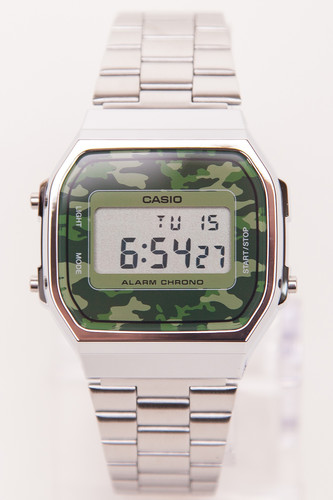лучшая цена Часы CASIO A-168WEC-3E 1275/3298 (Хром/Зеленый-3E)
