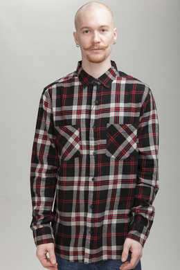 Рубашка URBAN CLASSICS Checked Flanell Shirt 3 Black/Grey/Red фото