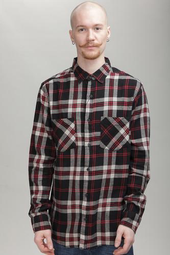 Рубашка URBAN CLASSICS Checked Flanell Shirt 3 (Black/Grey/Red, L) стоимость