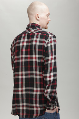 Рубашка URBAN CLASSICS Checked Flanell Shirt 3 Black/Grey/Red фото 2