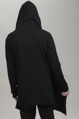 Кардиган URBAN CLASSICS Long Hooded Open Edge Cardigan Black фото 2