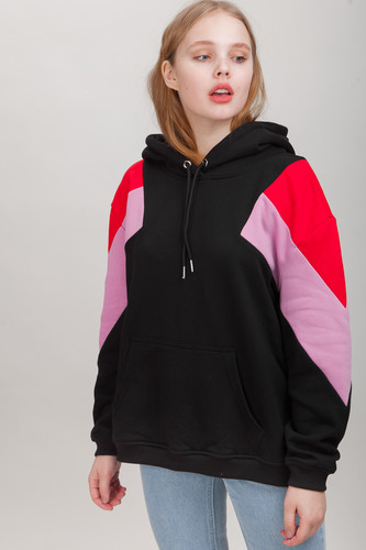 Толстовка URBAN CLASSICS Ladies Oversize 3-Tone Block Hoody (Blk/Firered/Coolpink, XL)