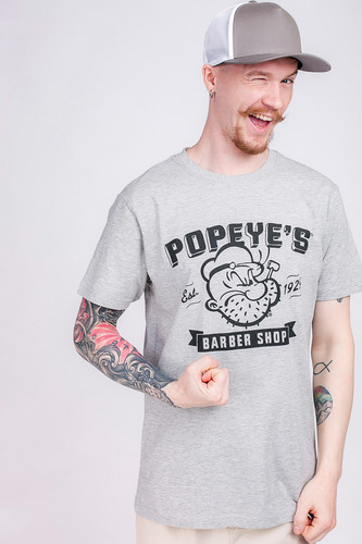 Футболка URBAN CLASSICS Popeye Barber Shop Tee Heather Grey фото 3