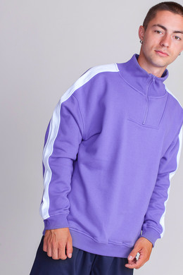 Толстовка URBAN CLASSICS Oversize Sweat Shoulder Stripe Troyer Ultraviolet/White фото