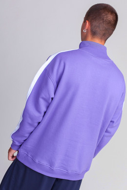 Толстовка URBAN CLASSICS Oversize Sweat Shoulder Stripe Troyer Ultraviolet/White фото 2