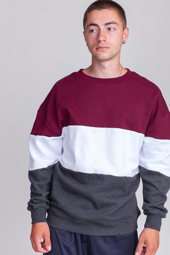 Толстовка URBAN CLASSICS 3-Tone Oversize Crewneck (Port/White/Charcoal, XL)
