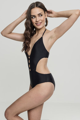Купальник URBAN CLASSICS Ladies Lace Up Swimsuit Black фото 2