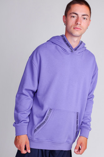 Толстовка URBAN CLASSICS Oversize Logo Hoody (Ultraviolet, XL) толстовка urban classics ladies oversize 3 tone block hoody blk firered coolpink xl