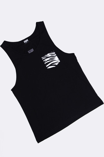Майка URBAN CLASSICS Contrast Pocket Jersey Big Tank Black/Zebra фото 8