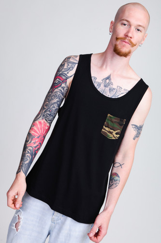 Майка URBAN CLASSICS Contrast Pocket Jersey Big Tank Black/Wood Camo фото 5