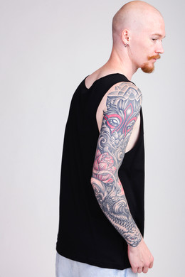 Майка URBAN CLASSICS Contrast Pocket Jersey Big Tank Black/Wood Camo фото 2